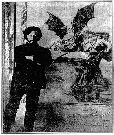 Leonid Andreyev stands before one of his own drawings, 1909.