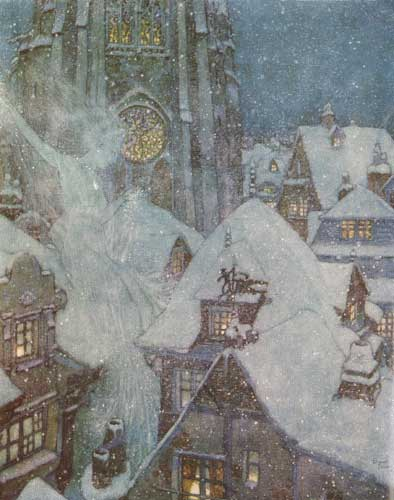 Traditional European rendering of the Snow Queen by Edmund Dulac.