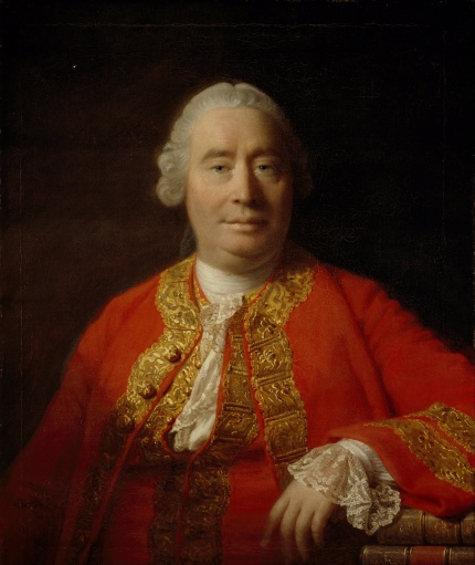 """The famous 1766 portrait of Hume by Allan Ramsay. This was painted one year before Hume was made Undersecretary of State (British Empire), during which time he was given access to """"all the secrets of the kindgom, and indeed, of Europe, Asia, Africa and America"""". Hume was not just an 'ivory tower' philosoper."""