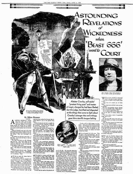 Nina Hammett, a sort of Roaring Twenties version of Tilda Swinton, spent some time with Crowley in Cefalu then wrote this article for about him. (Click on it to enlarge.)