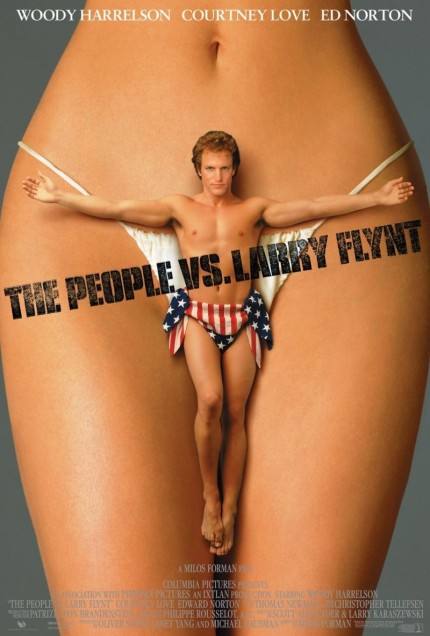"""Daniel Shaw on exploitative leaders: """"when taking, they are understood to actually be giving.""""  Movie Poster from The People Vs. Larry Flynt, a movie equating pornography with freedom of expression."""