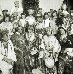 Alva Belmont, seated second from right, lives her dream of Oriental Splendor at the opening of her Tea House in 1914. Thank you mrmhadams.typepad.com