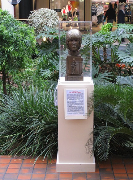 A bust of Brian Jones in his native Cheltenham, Gloustershire.