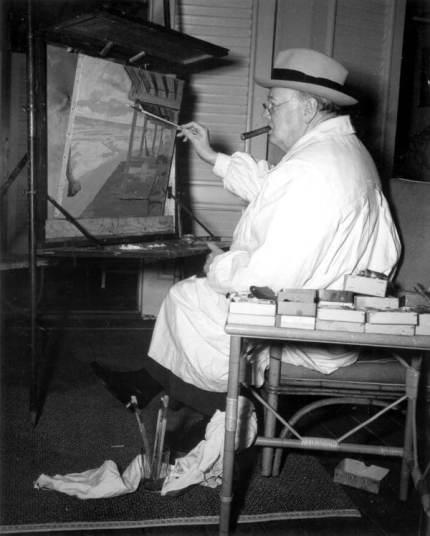 Winston Churchill at canvas.