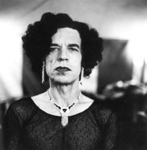 Sir Mick Jagger in drag, circa 1996, photographed by Anton Corbijn.