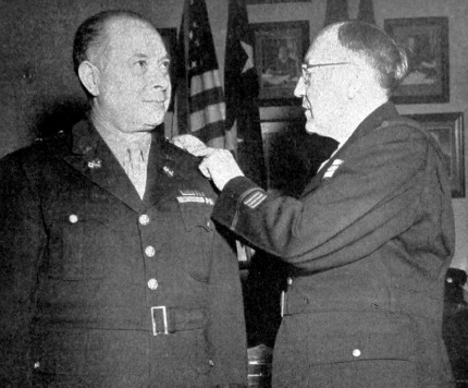 January 1945: David Sarnoff, of RCA, receiving his brigadier general's star from Major General Harry C. Ingles, chief signal officer of the US Army.