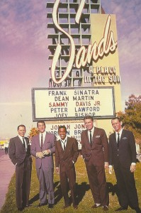 Popular entertainers outside George Raft's Las Vegas casino, The Sands.