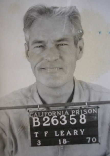 Timothy Leary's mug shot prior to his jail break and flight to Algeria.