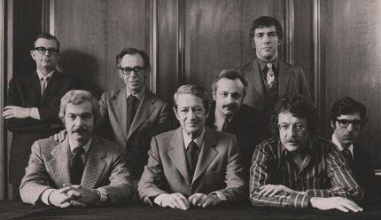 Playboy's editorial board in 1970: (L-R) BACK Robie Macauley, Nat Lehrman, Richard M. Koff, Murray Fisher, Arthur Kretchmer. FRONT Sheldon Wax, Auguste Comte Spectorsky, Jack Kessie. Thank you, Wikipedia.
