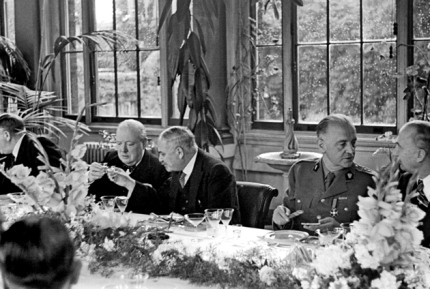 Ivan Maisky (second from left), the Soviet ambassador to London between 1932 and 1943, with Winston Churchill at the Allied ambassadors' lunch at the Soviet embassy, September 1941. General Władysław Sikorski, prime minister of the Polish government in exile, is second from right.  Thank you, nybooks.com